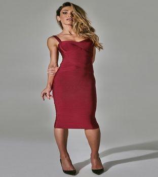 Vera Μπορντό Bandage Dress