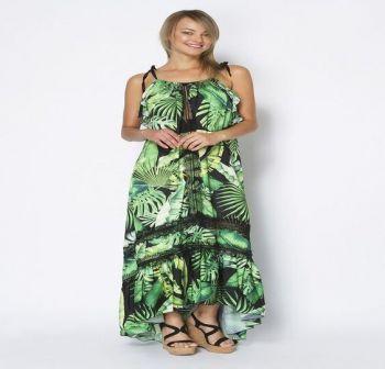 Φόρεμα Πράσσινο Μακρύ Δάντελα
