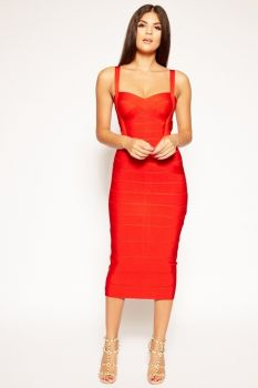 Vera Red Bandage Dress-Red-L