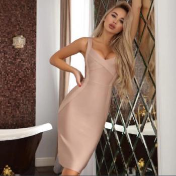 Monica Beige Midi Bandage Dress
