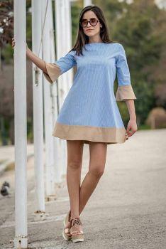 Φόρεμα με Ρίγες Γαλάζιο