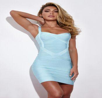 Francie Γαλάζιο Bandage Φόρεμα