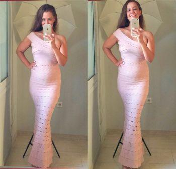 Φόρεμα Μακρύ Ρόζ με Ένα Ώμο
