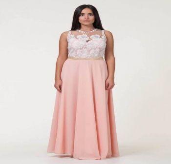 Φόρεμα Δαντέλα Μακρύ Ρόζ