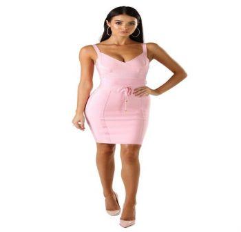 Isabella Pink Midi Dress