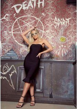 Antoinette Black Strapless Midi Dress