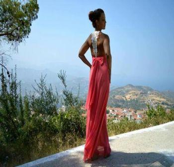 Φόρεμα Ρόζ Μακρύ με Δαντέλα