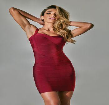 Francie Mini Μπορντό Φόρεμα