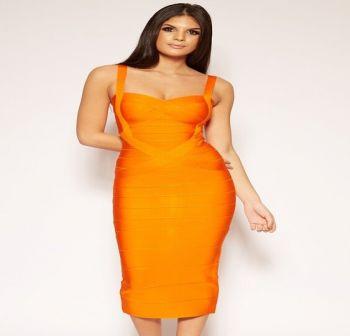 Vera Orange Bandage Dress