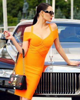 Yanni Orange Midi Dress-M